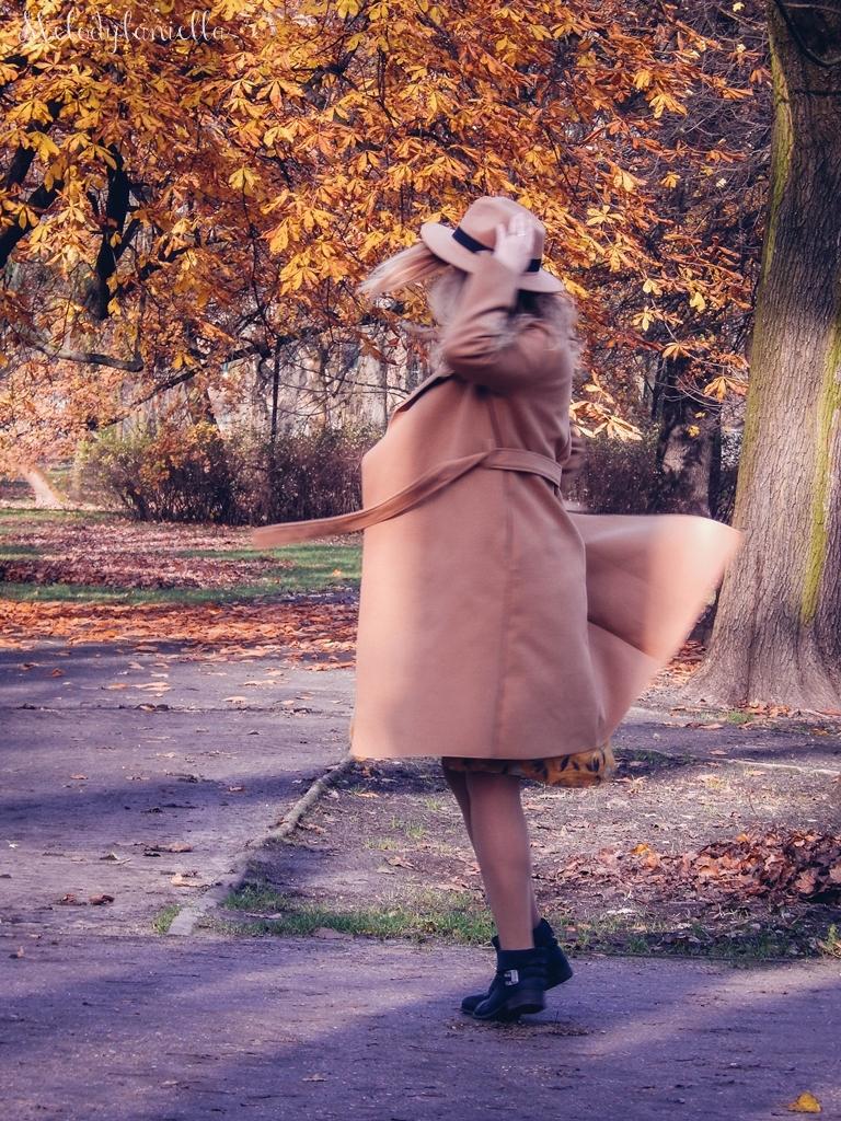 5 beżowy wiązany płaszcz na jesień wiosnę zimę beżowy kapelusz jak nosić kapelusz sukienka na jesień żółta w kwiaty zegarek daniel wellington kod rabatowy promocje rosegal zaful opinie moda fashion blogerka łódź