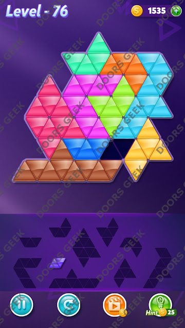 Block! Triangle Puzzle Master Level 76 Solution, Cheats, Walkthrough for Android, iPhone, iPad and iPod