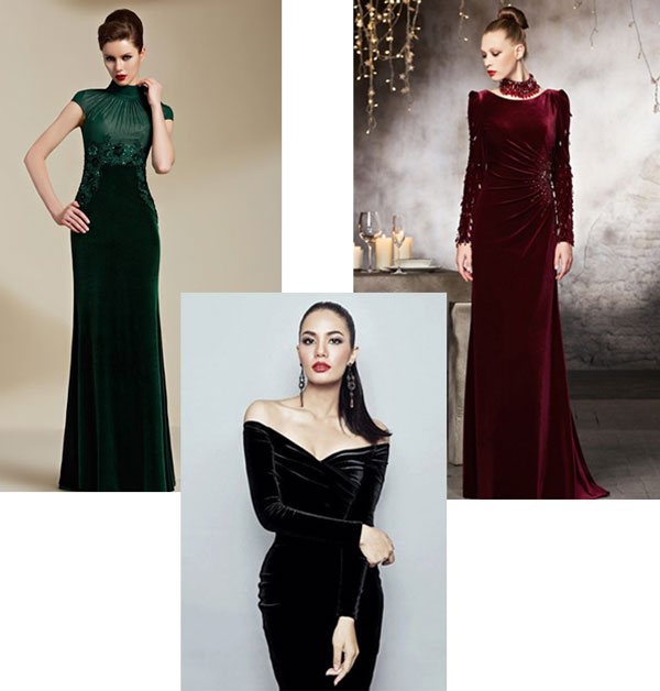 robes de soirée élégantes en velours