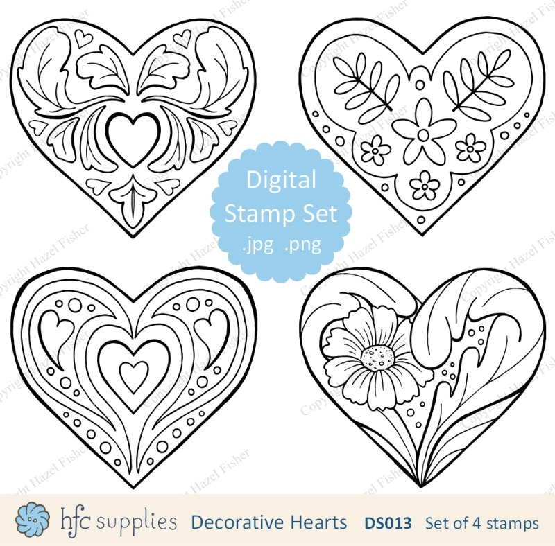 Decorative Hearts digital stamp set available from hfcSupplies on Etsy