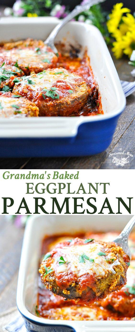 GRANDMA'S BAKED EGGPLANT PARMESAN #grandma #baked #eggplant #parmesan #veggies #veganrecipes #vegetarian #vegetarianrecipes