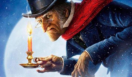 """Mr. Scrooge mit seinem typisch """"bösen"""" Gesichtsausdruck, bevor er auf seine persönliche Reise geht, die ihn verändern wird."""