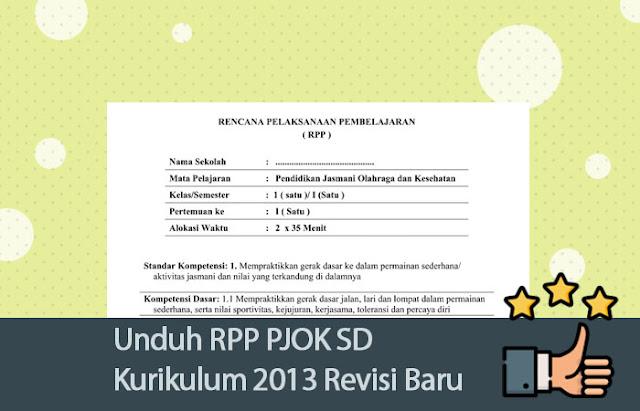 Unduh RPP PJOK SD Kurikulum 2013 Revisi Baru