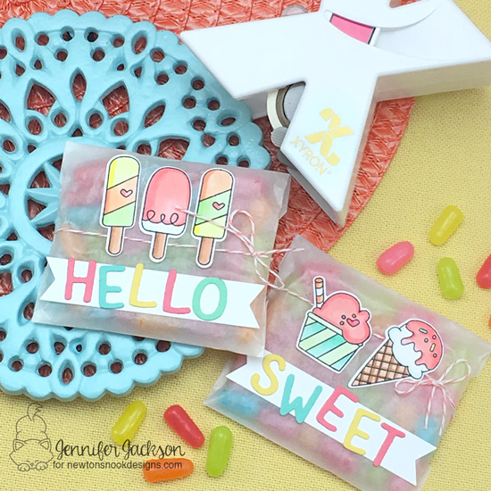 Treat favors by Jennifer Jackson | Summer Scoops Stamp Set and Essential Alphabet Die Set by Newton's Nook Designs | Sticker Makers by Xyron #newtonsnook #xyroninc