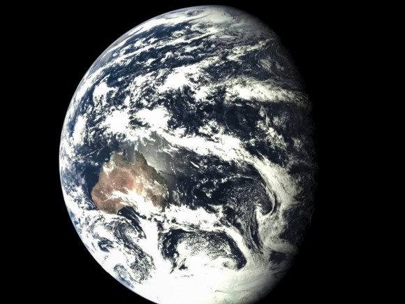 A view of Earth on 2014, from the Chinese Chang'e-5 T1 spacecraft