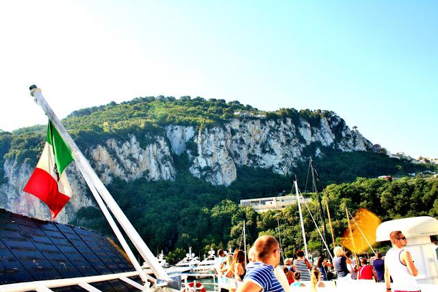 isola, turisti, traghetto, cielo