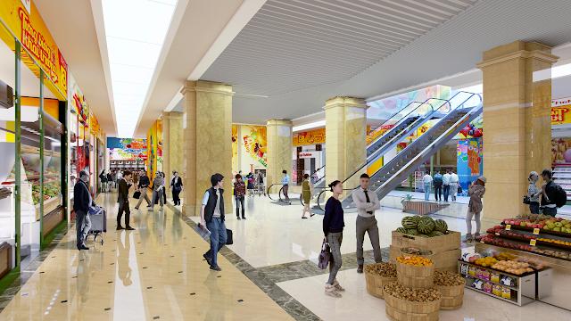 Siêu thị mua sắm lớn tại tầng 1