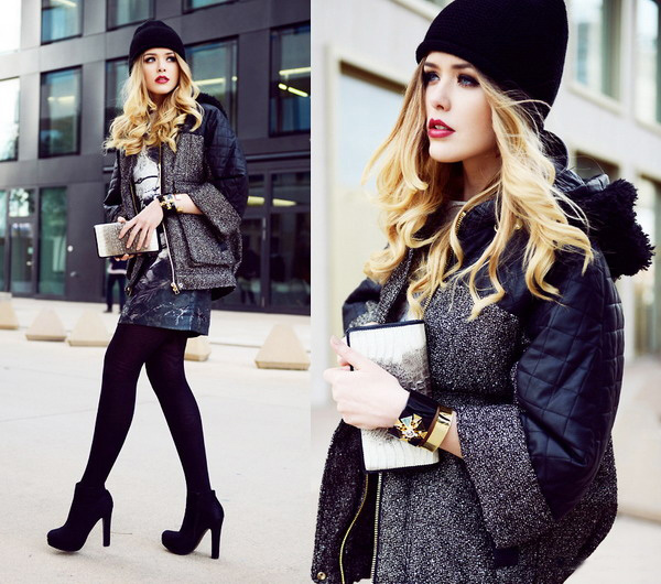 Stunning Bowler Hat The simple black sweater with leggings is so modern.  The black and white leggings makes the whole feeling not that thin and weak. 4ad6a6f3b33