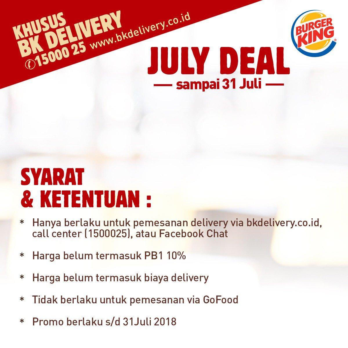 Burger King - Promo July Deal (s.d 31 Juli 2018)