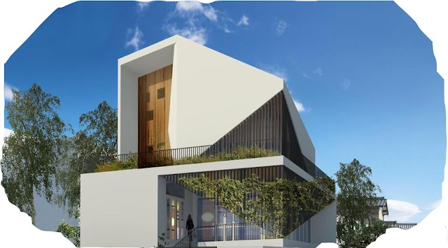 Modern house design with oblique facade