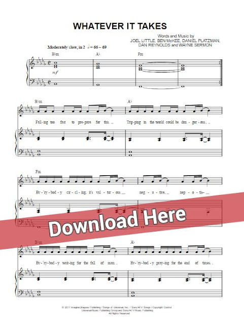 imagine dragons, whatever it takes, sheet music, piano notes, chords, download, tutorial, lesson, guide, cleff, tabs, guitar, vocals, klavier noten