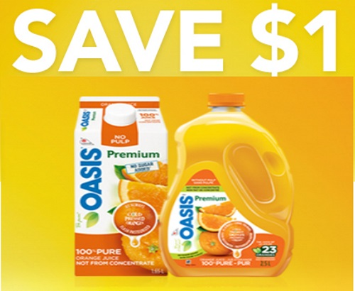 Save.ca Oasis Orange Juice $1 Off Coupon