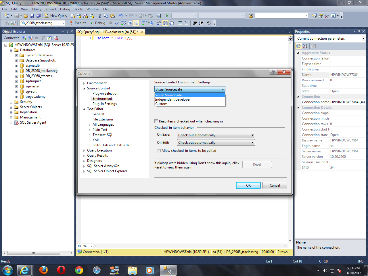 how to connect sql server management studio 2012
