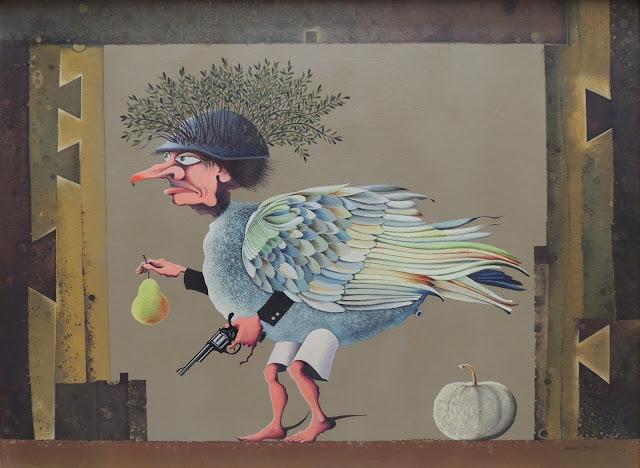 Josep Maria Rovira Brull Pintura surrealista soldado pajaro