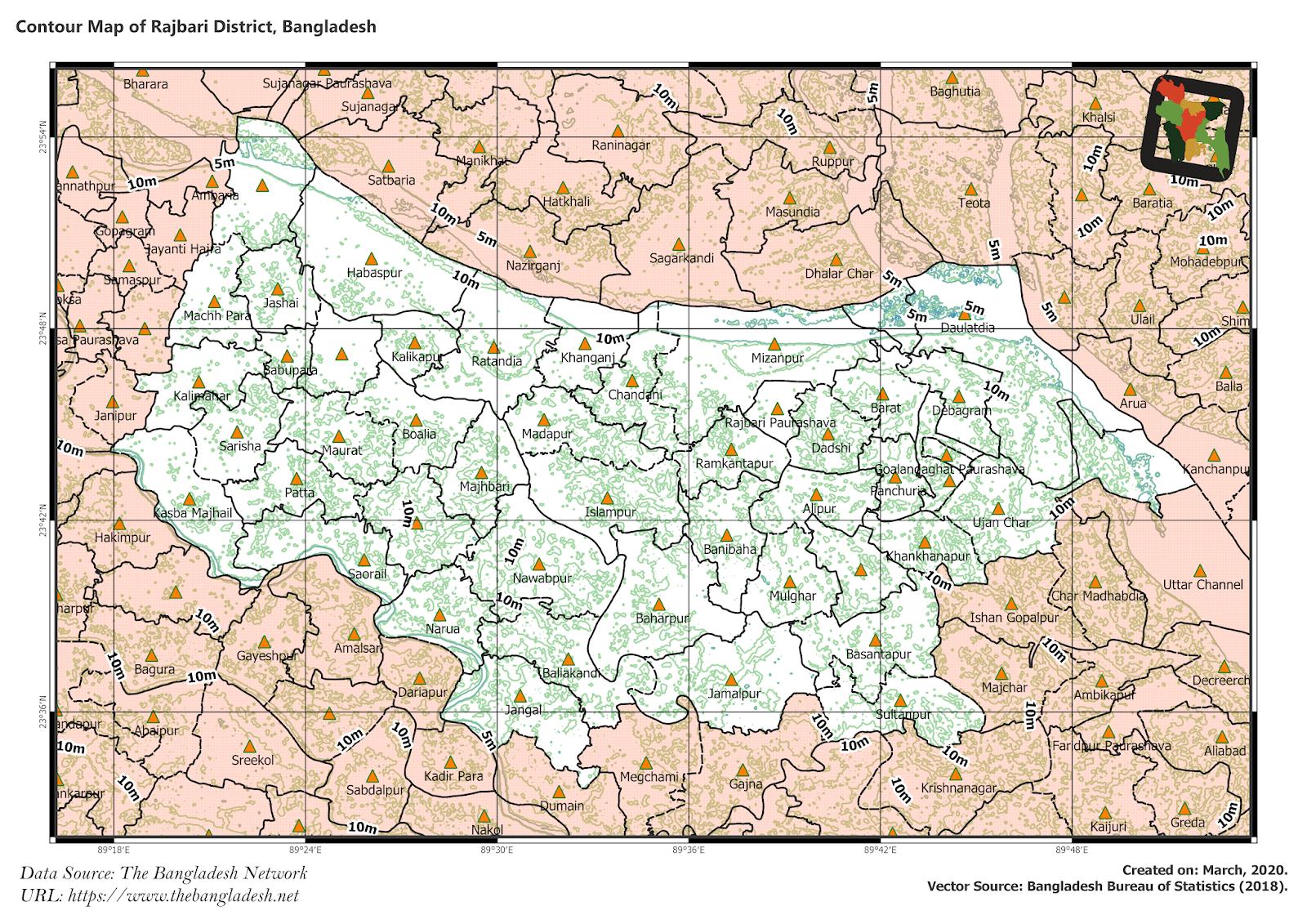 Elevation Map of Rajbari District of Bangladesh