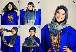 Tutorial hijab pashmina wajah bulat untuk ibu muda