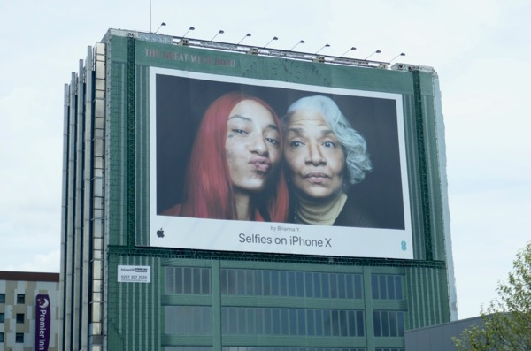 Giant Selfies on iPhone X Brianna Y billboard London
