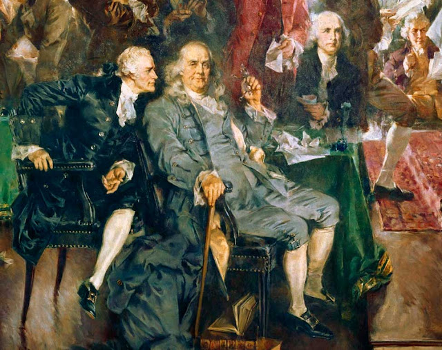 "Howard Chandler Christy - ""Scene at the Signing of the Constitution of the United States""  Detail Showing Benjamin Franklin"