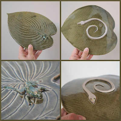 Beautiful hosta leaf ceramic plate with frog and snake, pottery by Lily L.
