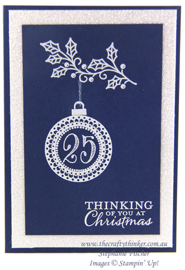 Stampin Up, #thecraftythinker, Christmas card, Xmas, Embellished Ornaments, Merriest Wishes, blue and white, Stampin Up Australia Demonstrator, Stephanie Fischer, Sydney NSW