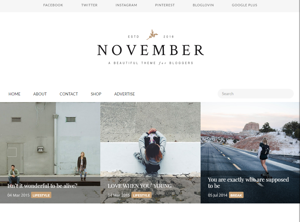 November blogger templates for creative blogs