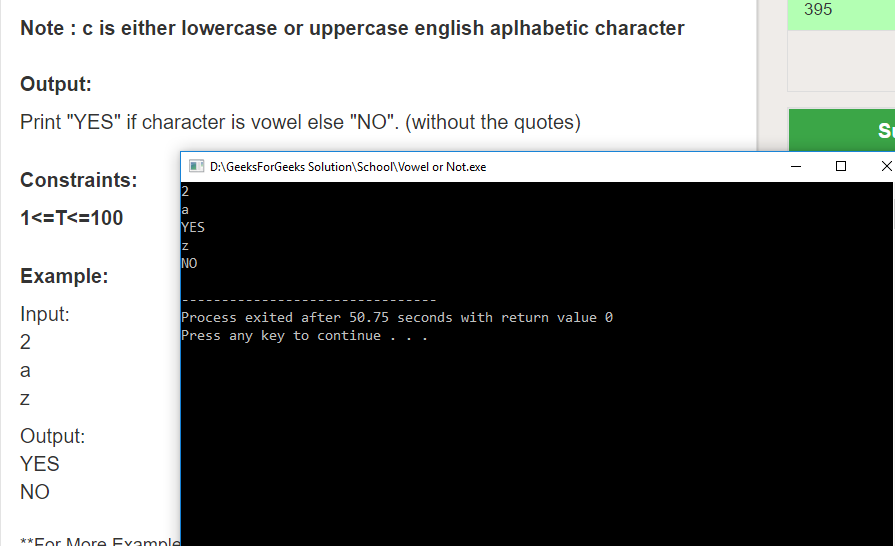 "Geeksforgeeks Solution For "" Vowel or Not """