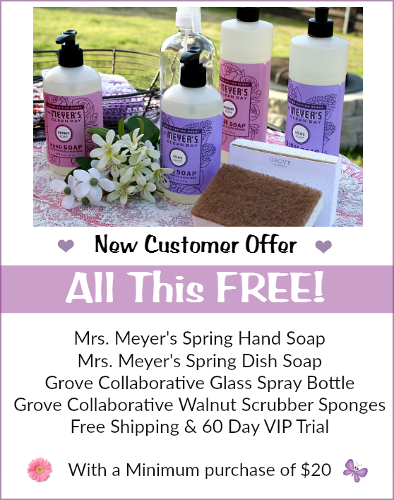 new customers will get a mrs meyers dish soap and hand soap in the limited edition peony and lilac spring scents a beautiful grove glass
