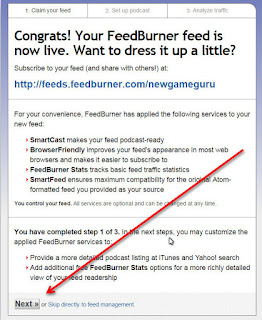 feedburner congrats setting