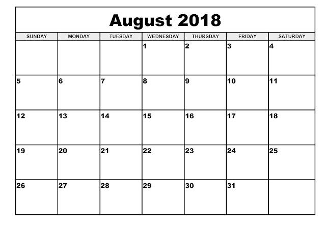 August 2018 calendar printable USA