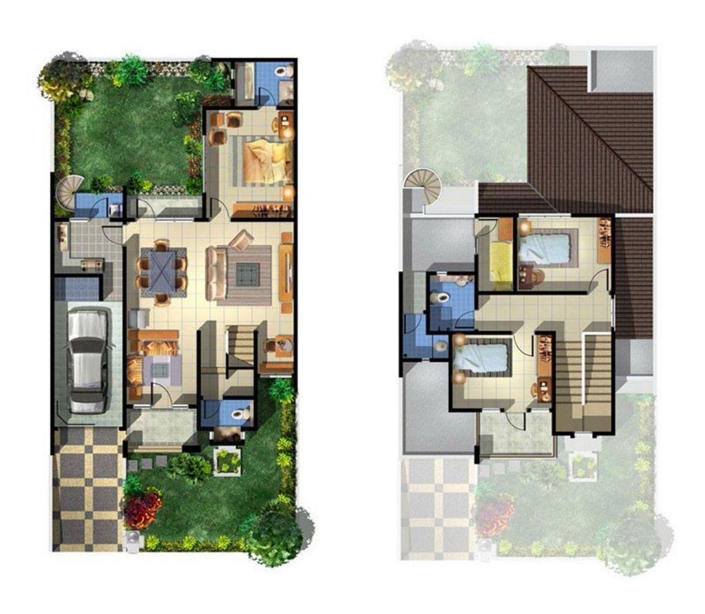 Desain Denah Rumah Minimalis Type 100 Menarik
