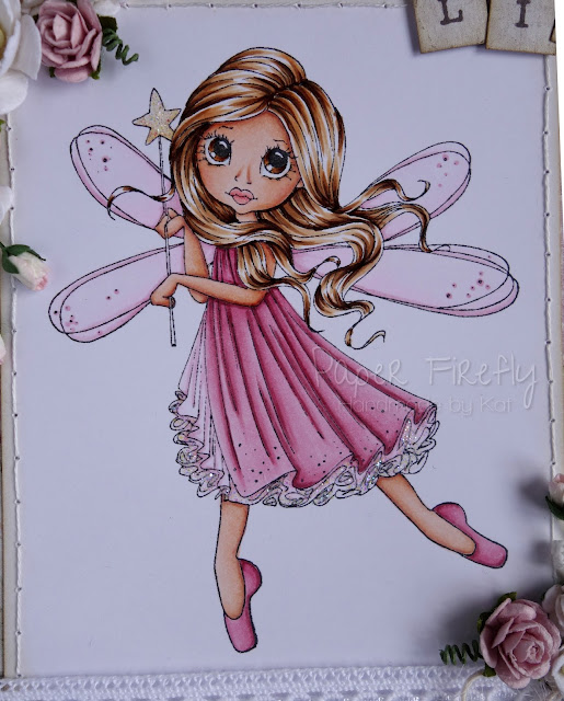 Girly floral birthday card featuring Saturated Canary fairy