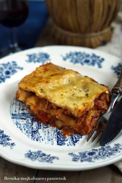 lazania, lasagne, mieso mielone, wlochy, bernika, kulinarny pamietnik, zapiekanka, pomidorwy, wolowina
