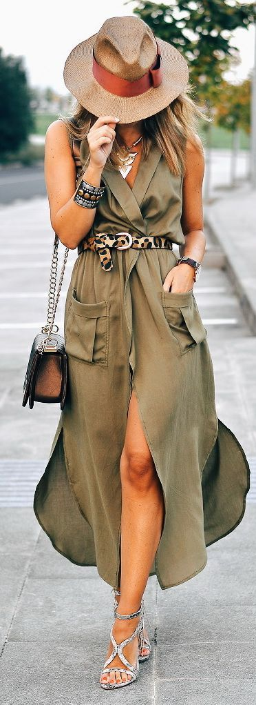 Olive Green Wrap Maxi Dress