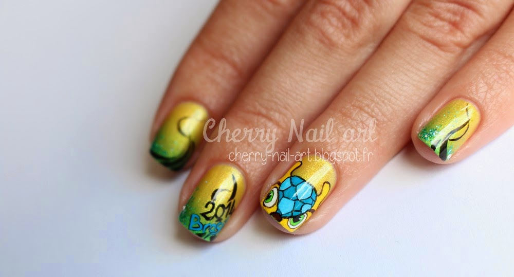 nail art fuleco coupe du monde Bresil 2014 football