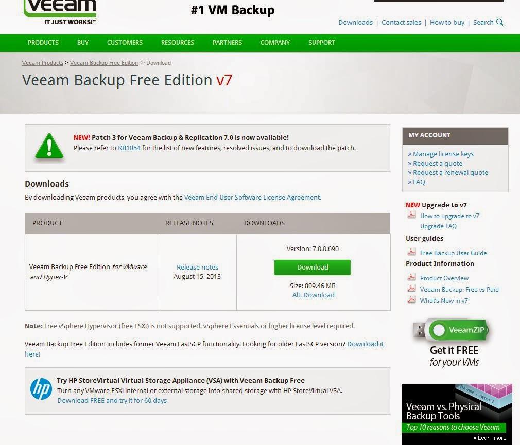 Veeam Backup Free Edition : Installation , Configuration , backup