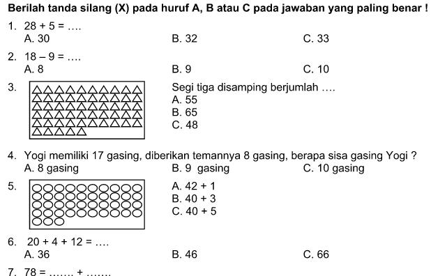 Soal UTS Matematika Kelas 1 SD Terbaru