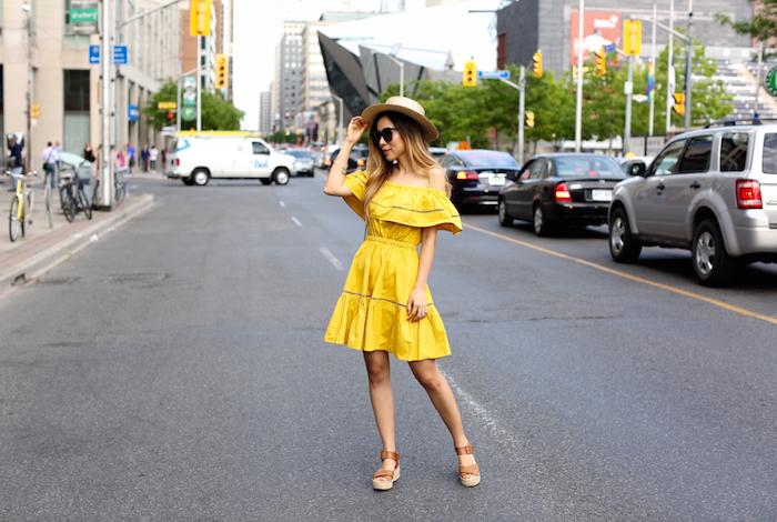 Chicwish off shoulder dress, valentino lock bag, sandals, straw hat, toronto street style, nyc fashion blog, summer style