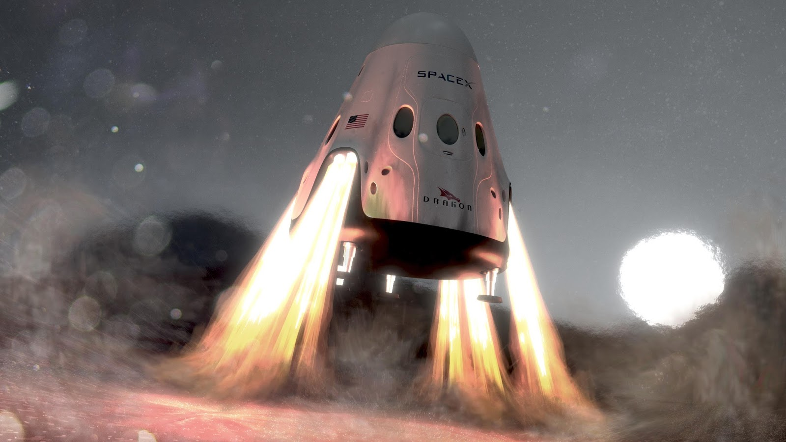 SpaceX Red Dragon landing on Mars by Chris Monson