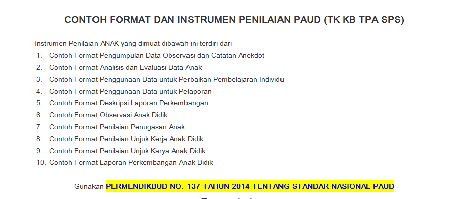 Download Contoh Evaluasi Dan Penilaian Paud Tk Kb Tpa Sps Lengkap