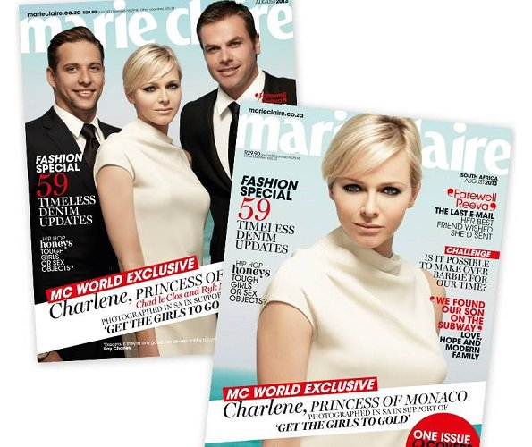 Princess Charlene is on the August cover of Marie Claire South Africa to promote her foundation, which supports teaching young girls how to swim