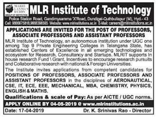 MLRIT Marri Laxman Reddy Institute of Technology, Hyderabad Recruitment 2019 Assistant Professor Jobs Notification  Apply Online