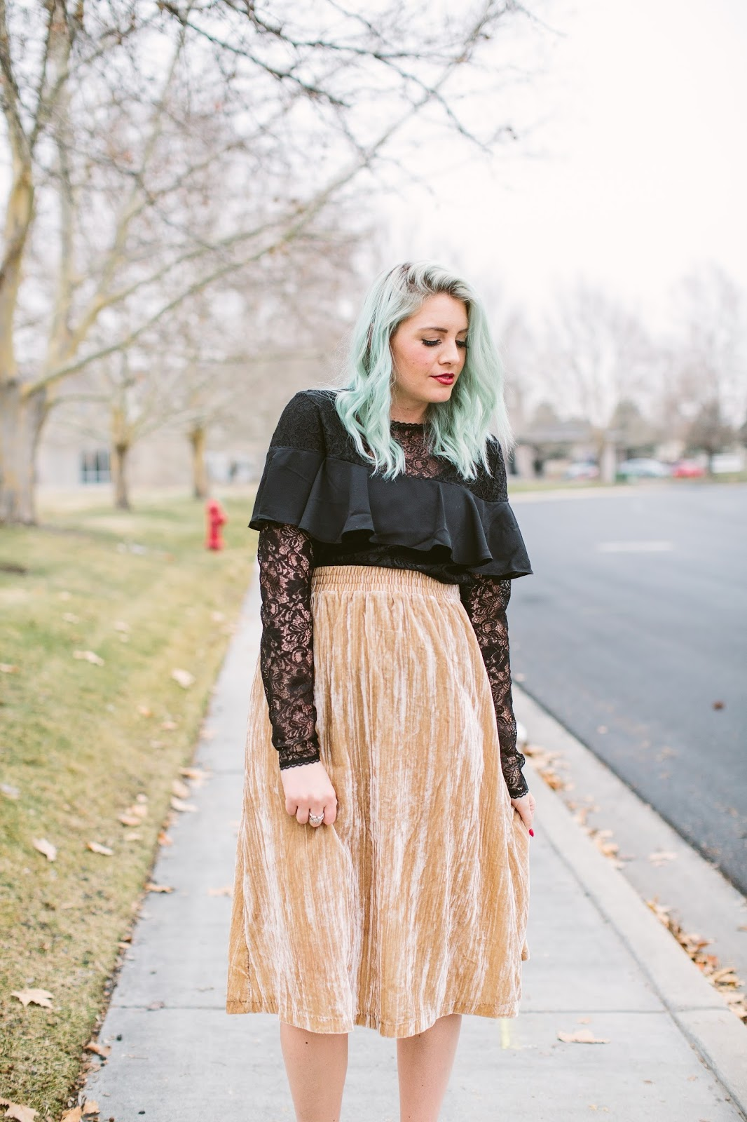 Black Lace Top, Velvet Skirt, Tall Girl Style