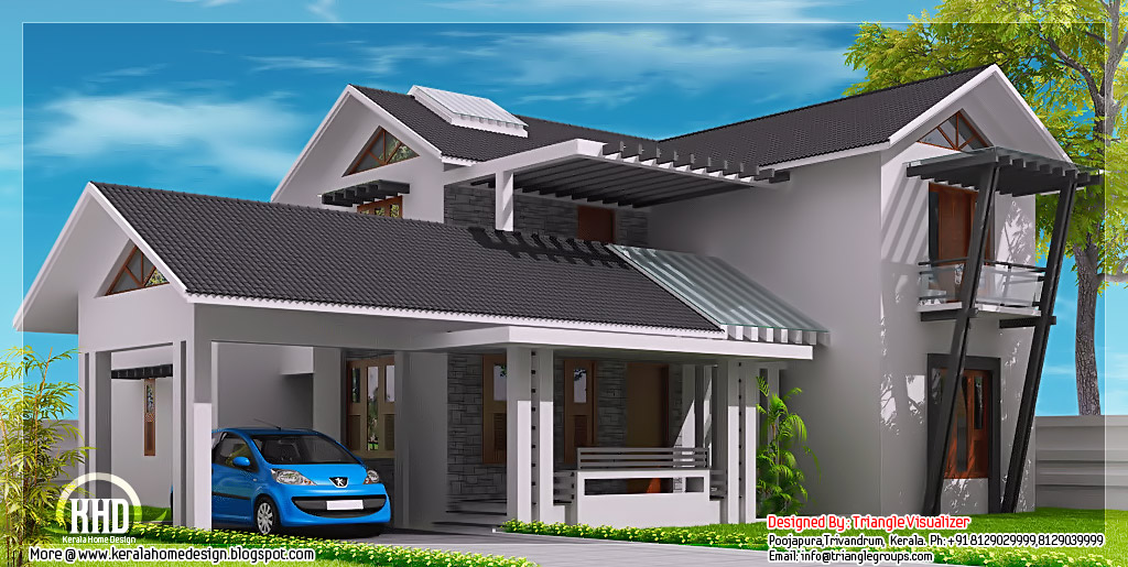 Modern mix sloping roof home design - Kerala home design