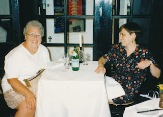 Mom and me at a London Pub, 1995