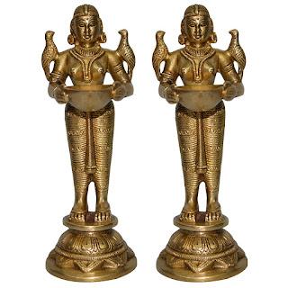 DronaCraft Deep Laxmi Pair Home Decor Brass Statues