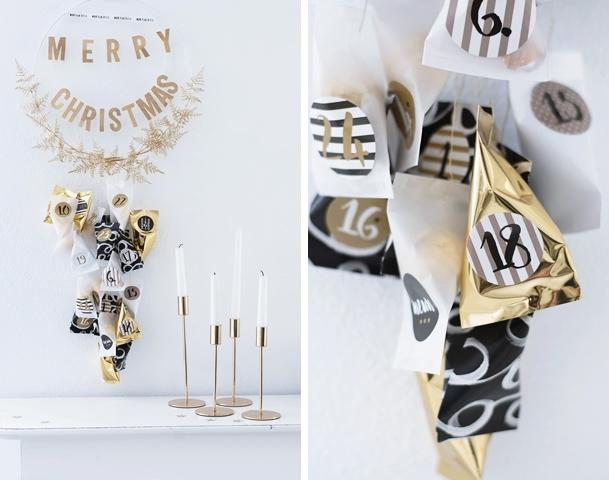 DIY Adventskalender in Gold und Schwarz