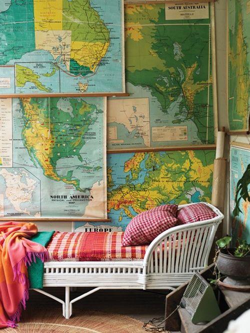Mapas na Decoração - Maps at Decor