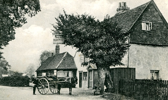 Scanned image of a postcard showing The Old Maypole pub in Water End, North Mymms in the 1900s. Image by G Knott from Peter Miller's collection