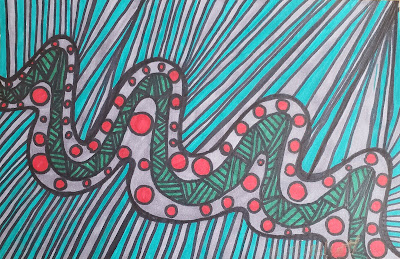 A pen and ink doodle meditation in greens and red and a blurb about 3d printing and heart transplants