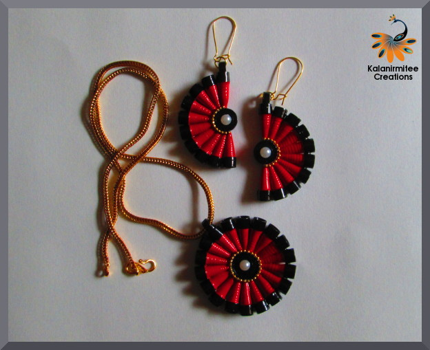 Quilled jewelery set tutorial kalanirmitee creations for Quilling strips designs